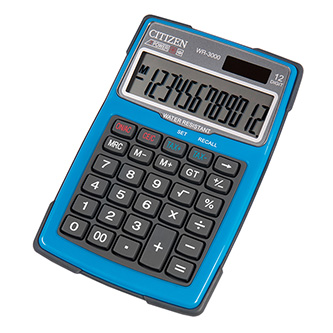 Citizen Kalkulačka WR3000NRBLE, modrá, stolní s výpočtem DPH, dvanáctimístná, vodotěsná, prachuodolná, automatické vypnutí