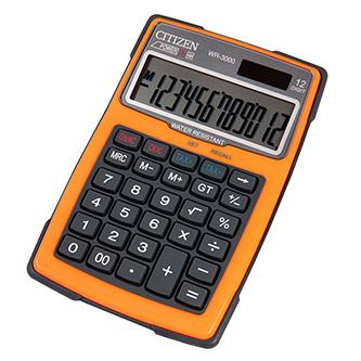 Citizen Kalkulačka WR3000NRORE, oranžová, stolní s výpočtem DPH, dvanáctimístná, vodotěsná, prachuodolná, automatické vypnutí