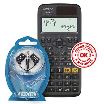 Casio Kalkulačka se sluchátky Maxell FX 85 CE X, černá, školní