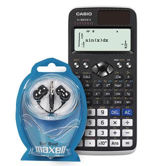 Casio Kalkulačka se sluchátky Maxell FX 991 CE X, Černá, školní