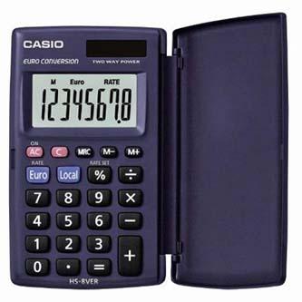 Casio Kalkulačka HS 8 VER, černá, kapesní, osmimístná, velký displej