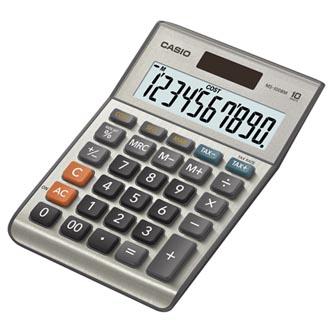 Casio Kalkulačka MS 100 B MS, stříbrná, stolní s převodem měn, výpočtem marže, DPH, %