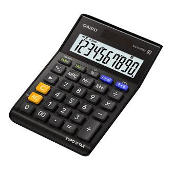 Casio Kalkulačka MS 100 TER II BK, černá, stolní s převodem měn, výpočtem DPH
