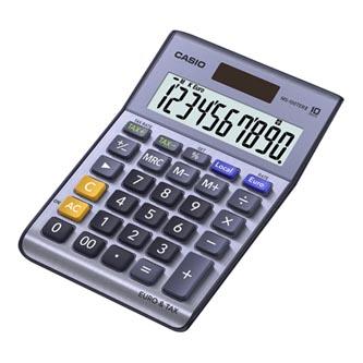 Casio Kalkulačka MS 100 TER II, stříbrná, stolní s převodem měn, výpočtem DPH
