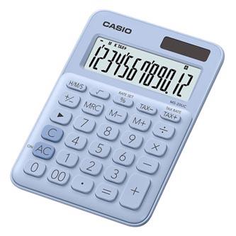Casio Kalkulačka MS 20 UC LB, světle modrá, dvanáctimístná, duální napájení