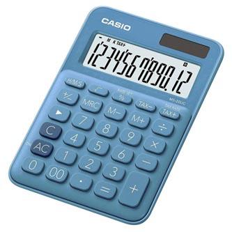 Casio Kalkulačka MS 20 UC BU, modrá, dvanáctimístná, duální napájení