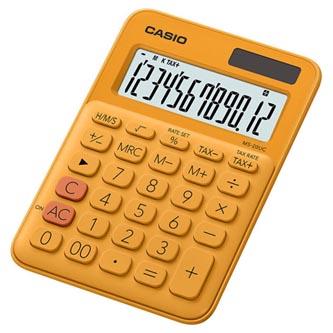 Casio Kalkulačka MS 20 UC RG, oranžová, dvanáctimístná, duální napájení