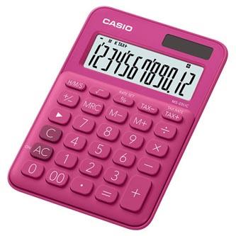 Casio Kalkulačka MS 20 UC RD, tmavě růžová, dvanáctimístná, duální napájení