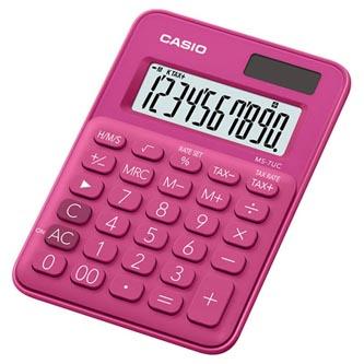 Casio Kalkulačka MS 7 UC RD, tmavě růžová, desetimístná, duální napájení