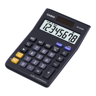 Casio Kalkulačka MS 8 VER II, černá, stolní s převodem měn, výpočtem procent vč. zisku