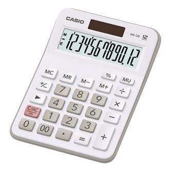 Casio Kalkulačka MX 12 B WE, bílo-šedá, duální napájení