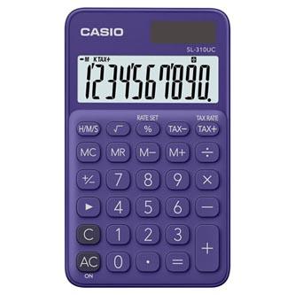 Casio Kalkulačka SL 310 UC PL, fialová, kapesní, desetimístná, duální napájení