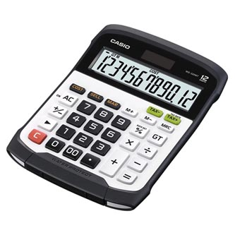 Casio Kalkulačka WD 320 MT, černo-bílá, stolní, vodotěsná
