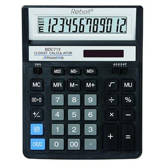 Rebell Kalkulačka RE-BDC712BK BX, černá, stolní, dvanáctimístná