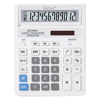 Rebell Kalkulačka RE-BDC712WH BX, bílá, stolní, dvanáctimístná