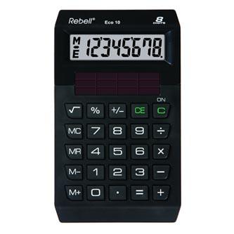 Rebell Kalkulačka ECO 10, černá, kapesní, osmimístná