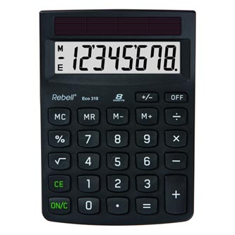 Rebell Kalkulačka RE-ECO 310, černá, stolní, osmimístná