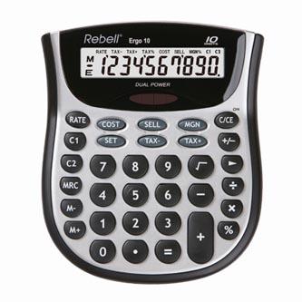 Rebell Kalkulačka RE-ERGO 10 BX, šedá, stolní, desetimístná