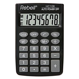 Rebell Kalkulačka RE-HC108 BX, černá, kapesní, osmimístná