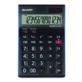 Sharp Kalkulačka EL-145TBL, černo-modrá, stolní, čtrnáctimístná