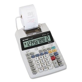 Sharp Kalkulačka EL-1750V, bílá, stolní s tiskem, dvanáctimístná, bez adaptéru