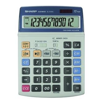 Sharp Kalkulačka EL-2125C, šedá, stolní, dvanáctimístná
