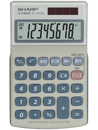 Sharp Kalkulačka EL-240SA, stříbrná, kapesní, osmimístná