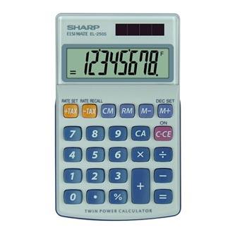 Sharp Kalkulačka EL-250S, šedo-modrá, kapesní, osmimístná