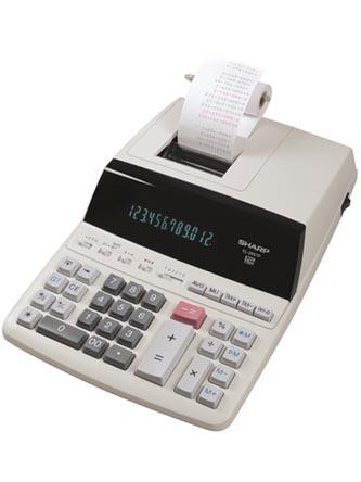 Sharp Kalkulačka EL-2607PG, bílá, s tiskem, dvanáctimístná