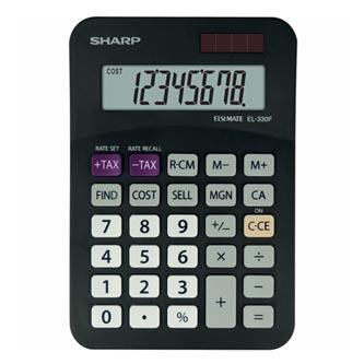 Sharp Kalkulačka EL-330FBBK, černá, stolní, osmimístná