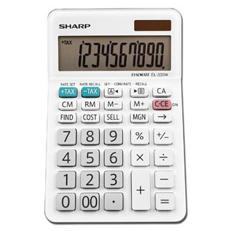 Sharp Kalkulačka EL-330W, bílá, stolní, desetimístná