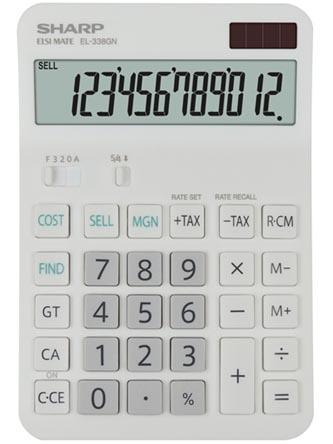 Sharp Kalkulačka EL-338GN, bílá, stolní, dvanáctimístná