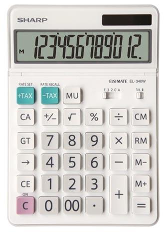 Sharp Kalkulačka EL-340W, bílá, stolní, dvanáctimístná