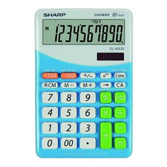 Sharp Kalkulačka EL-M332BBL, bílo-modrá, stolní, desetimístná