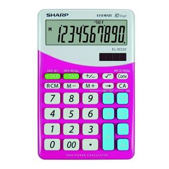 Sharp Kalkulačka EL-M332BPK, růžovo-bílá, stolní, desetimístná
