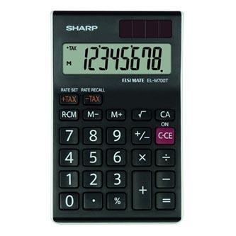 Sharp Kalkulačka EL-M700TWH, černo-bílá, stolní, osmimístná