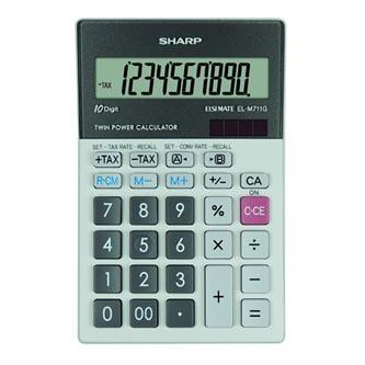 Sharp Kalkulačka EL-M711GGY, šedá, stolní, desetimístná