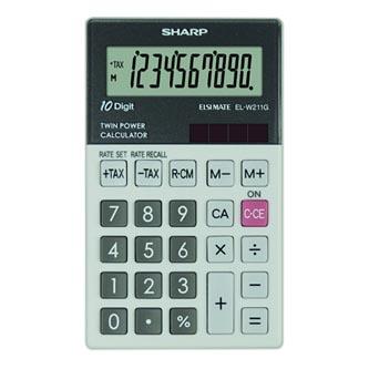 Sharp Kalkulačka EL-W211GGY, šedá, kapesní, desetimístná