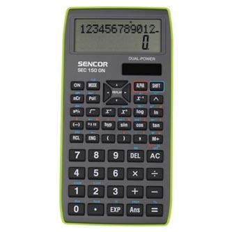 Sencor Kalkulačka SEC 150 GN, šedá, školní, dvanáctimístná, zelený rámeček
