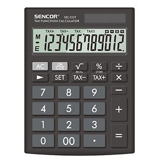 Sencor Kalkulačka SEC 333 T, černá, stolní, dvanáctimístná, duální napájení