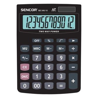Sencor Kalkulačka SEC 340/12, černá, stolní, dvanáctimístná, duální napájení