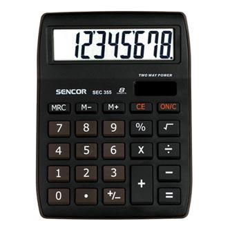 Sencor Kalkulačka SEC 355, černá, stolní, osmimístná, velký displej