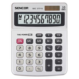 Sencor Kalkulačka SEC 377/10, šedá, stolní, desetimístná, duální napájení, kovový štítek pro větší odolnost