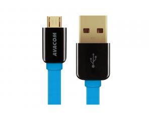 Kabel USB (2.0), USB A M- USB micro M, 0.4m, modrý, Avacom