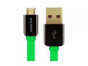 Kabel USB (2.0), USB A M- USB micro B M, 0.4m, zelený, Avacom, blistr