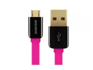 Kabel USB (2.0), USB A M- USB micro B M, 0.4m, růžový, Avacom, blistr