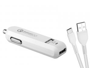 Avacom USB nabíječka do auta CarMAX 2 QuickCharge 2.0, 2 výstupy, kabel USB-A/USB-C,bílá