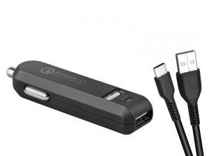 AVACOM CarMAX 2 nabíječka do auta 2x Qualcomm Quick Charge 2.0, černá, barva (USB-C kabel)