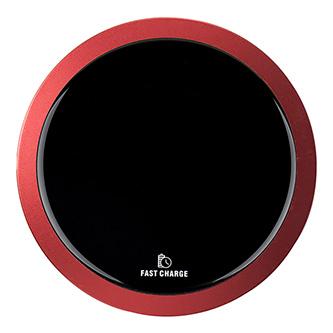 All New, Bezdrátová nabíječka, ultra tenká, pro telefon, červená, 5/9V, 10W, ochrana proti přehřátí, Qi