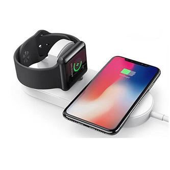 2v1 bezdrátová nabíječka, pro telefon a Apple Watch, bílá, 5V, 10W, Qi